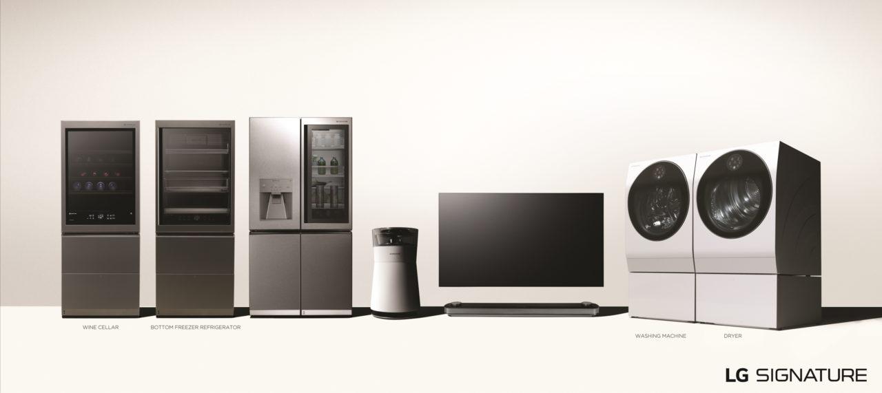 Zum Produktsortiment gehören ein OLED TV, ein Kühlschrank, eine Waschmaschine sowie ein Luftreiniger