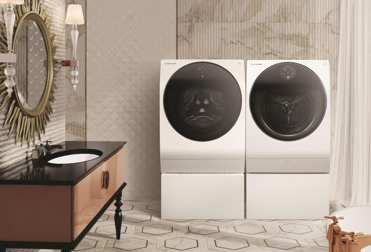 Die TWINWash-Funktion der LG SIGNATURE Waschmaschine ermöglicht zwei gleichzeitige Waschgänge