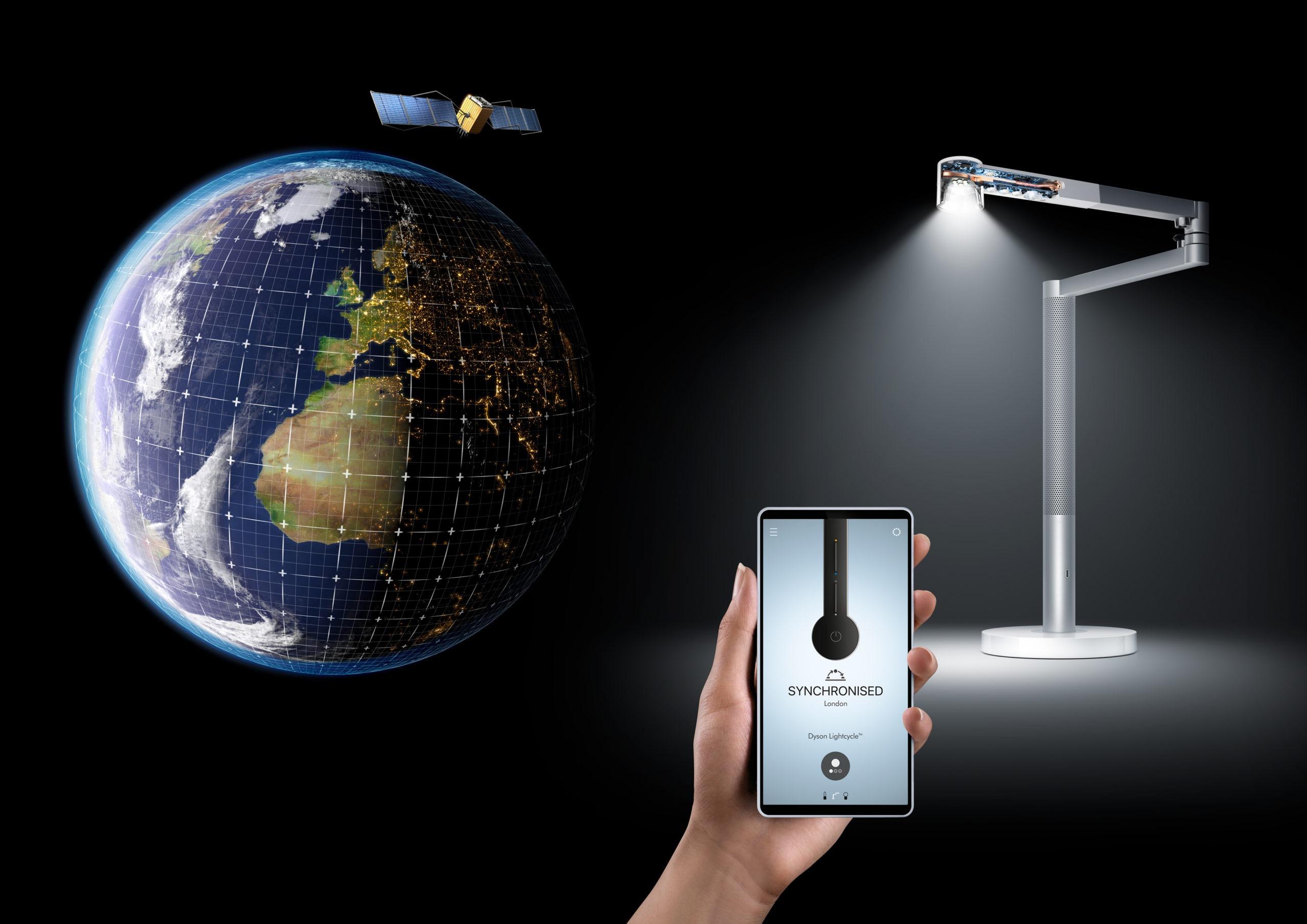 Per App wird das Licht der Dyson Leuchte mit dem Tageslicht synchronisiert